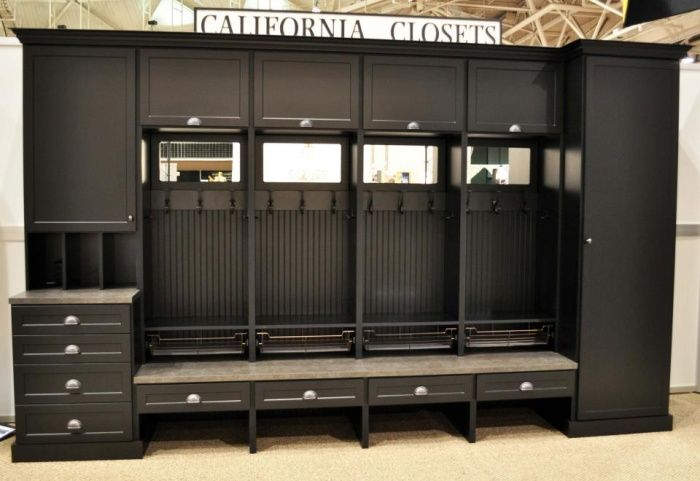 Black Mudroom With Beadboard Mirror Charging Station And Wardrobe For Additional Hanging California Closets