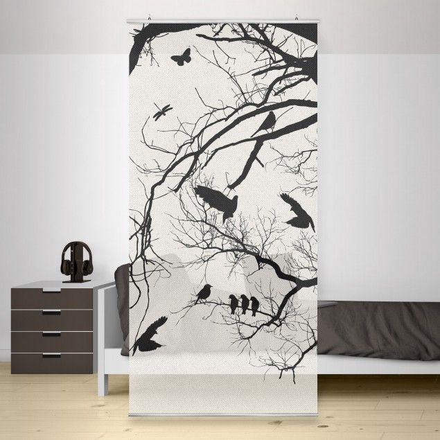raumteiler vintage tree in the sky 250x120cm schiebegardinen raumteiler panel curtain. Black Bedroom Furniture Sets. Home Design Ideas