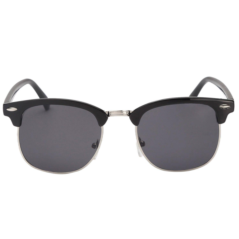 35aa183687 Classic Half Frame Semi-Rimless Horn Rimmed Sunglasses Retro Clubmaster  Sunglasses - Sliver