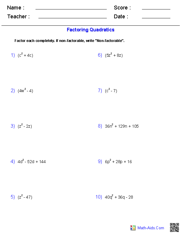 Factoring Quadratic Polynomials Worksheets | Tutoring | Pinterest ...