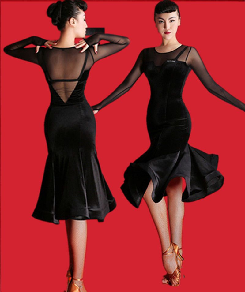 39e9c141b816 BLACK Velvet Latin Salsa Samba Rumba Ballroom Dance Dress Competition  Dancewear #Unbranded