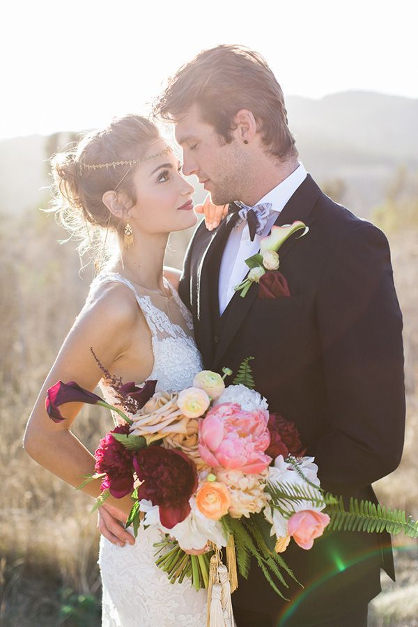 Boho Glam Bride and Groom | Carlie Statsky Photography | Luxe Bohemian Wedding in Jewel Tones