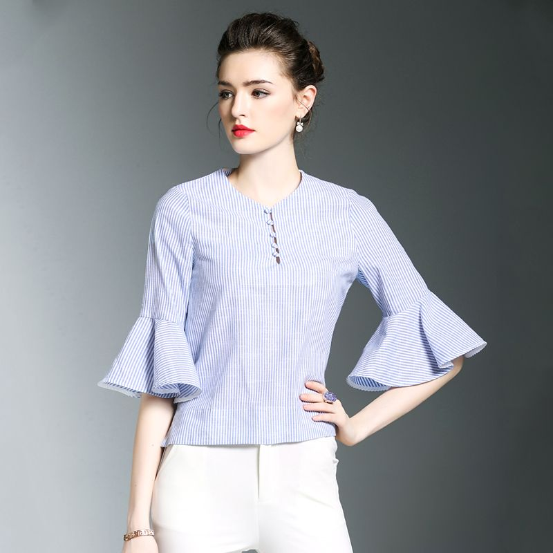 4ba78c900ee Ladies Bell Bottom Sleeve Blouse Designs 2018 Stripe Summer Plus Size Woman  Blouse Cotton
