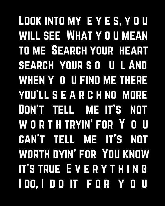 Bryan Adams Everything I Do Song Lyric Artwork Gift For