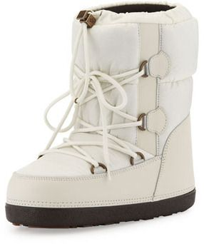846925ff9b1 Moncler Short Quilted Snow Boot, Cream on shopstyle.com | Womens ...