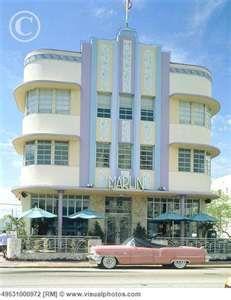 Hotel Marlin and cabrio, Art-deco-District, Miami, Florida, USA, full ...      www.visualphotos.com