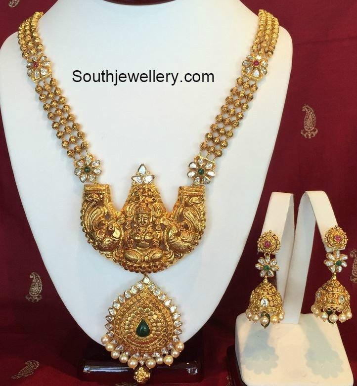 Antique Gold Lakshmi Necklace and Jhumkas Set Deepika. DKPINBOARD ...