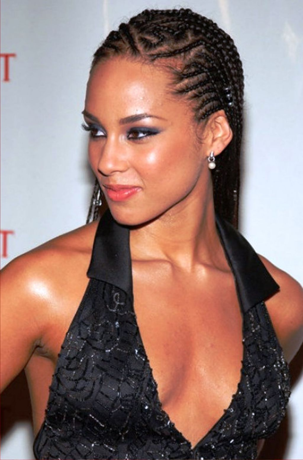 alicia keys cornrow braid hairstyle