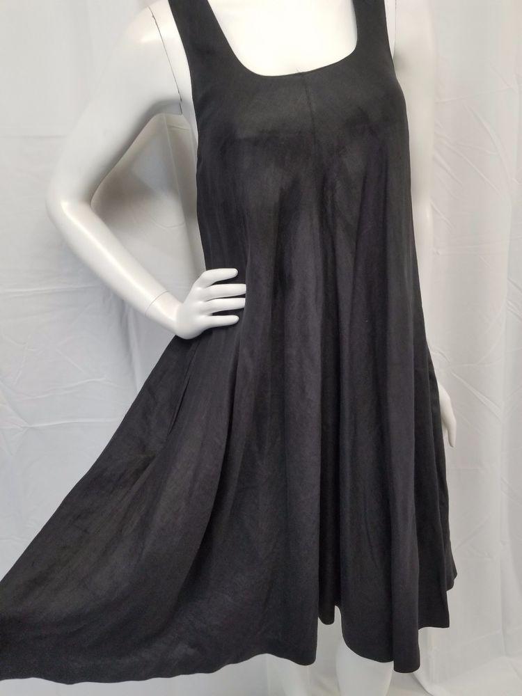 d2453851f4 LINDA ALLARD for ELLEN TRACY Black 100% Linen Lagenlook Jumper Dress Womens  2  EllenTracy  ALineDress  AnyOccasion