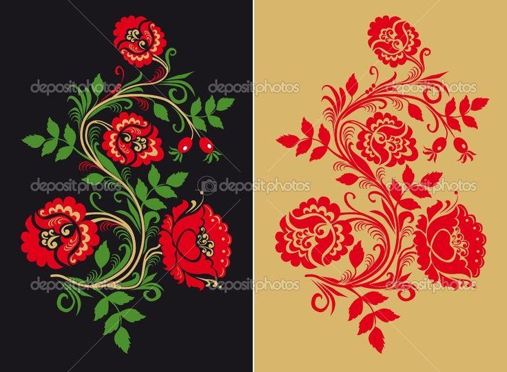 Traditional Russian Folk Art | Russian traditional Hohloma ornament ...