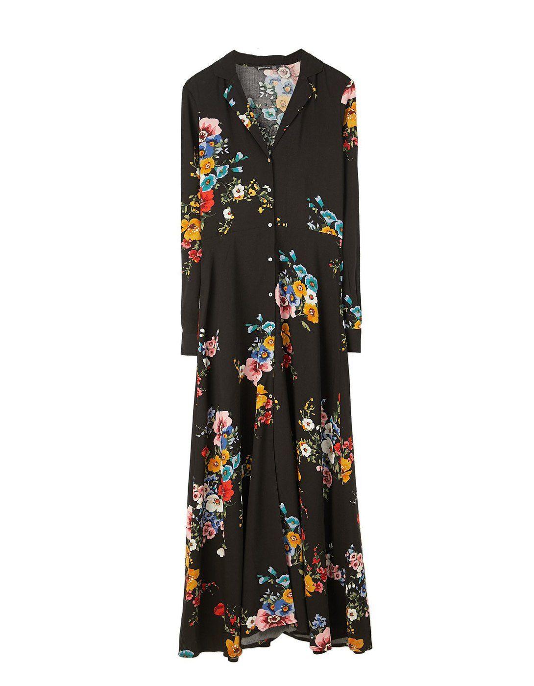 Vestido camisero flores largo 29,95 EUR   Stradivarius