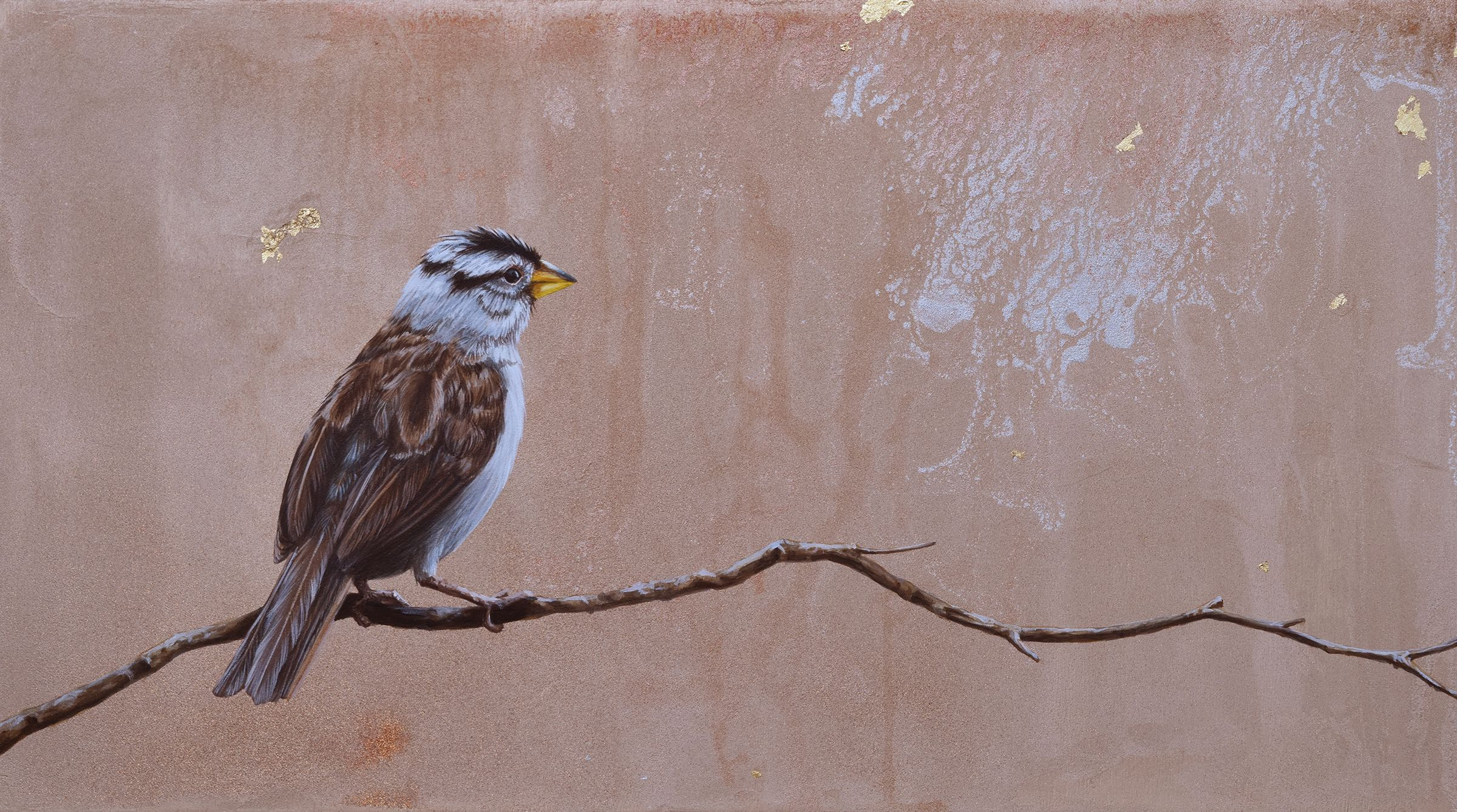 Listening to the Wind, my love had speedily went on a trip and listening to the wind was painted the same day, this sparrow represents looking out ward at all that is happening out in the world, depicted in gilding, ink and metallic glazes, feathers a bit ruffled waiting to hear from him.