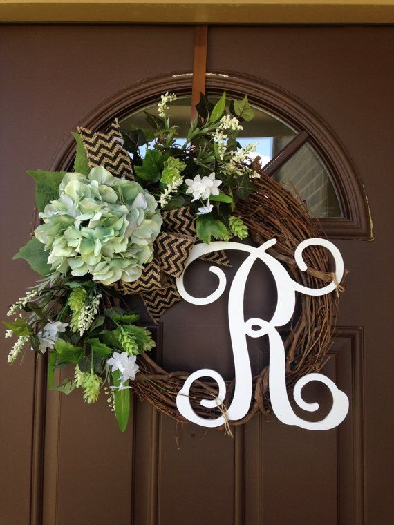 Year Round Wreath  Front Door Wreath With Initial  Front Door Decor    Spring Wreath   Outdoor Wreath   Monogram Wreath   Wreath   Gift