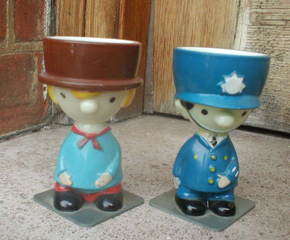 Two 1960s Novelty Plastic Egg Cups Tv Related In