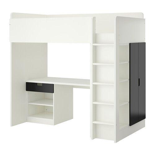 STUVA Loft bed combo w 1 drawer/2 doors, white, black white/black 207x99x193 cm