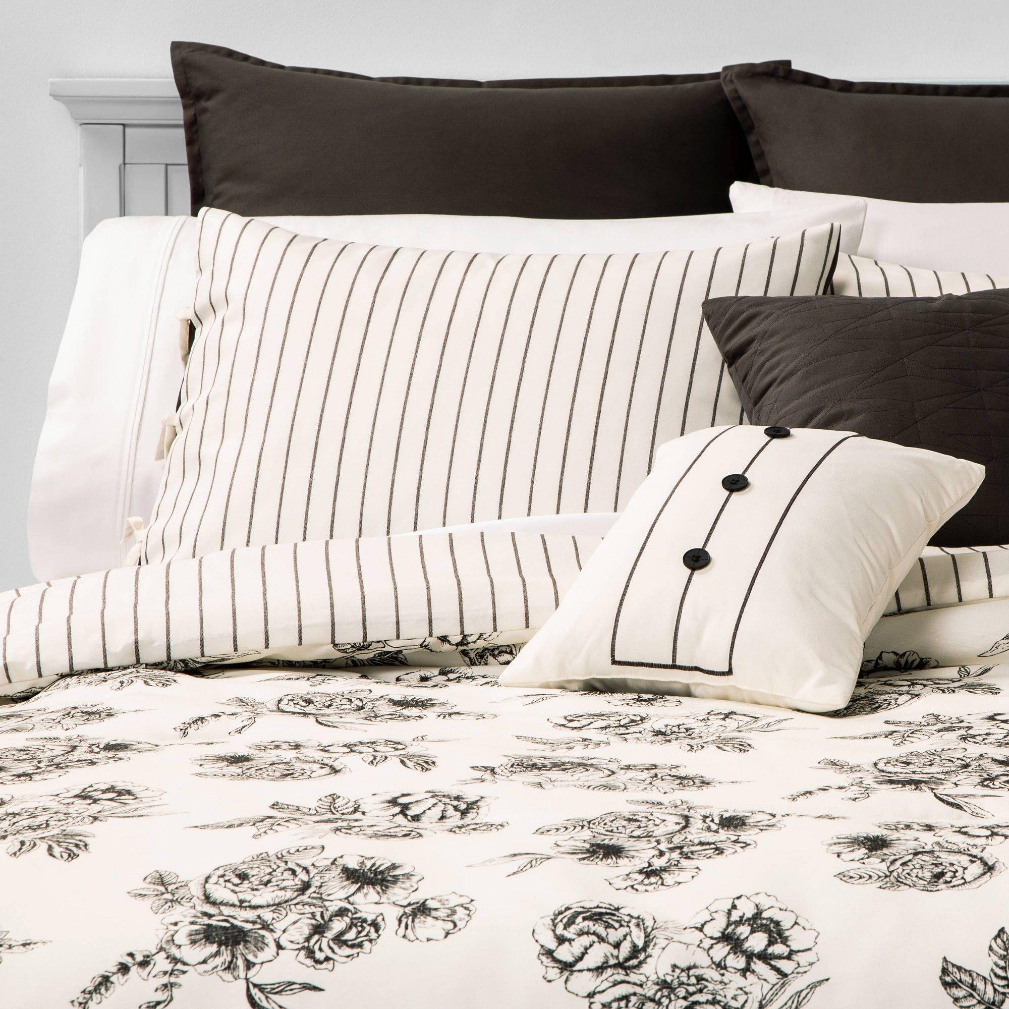 Queen Mariella Floral Stripe 8pc Bed Set Black Floral Bedding