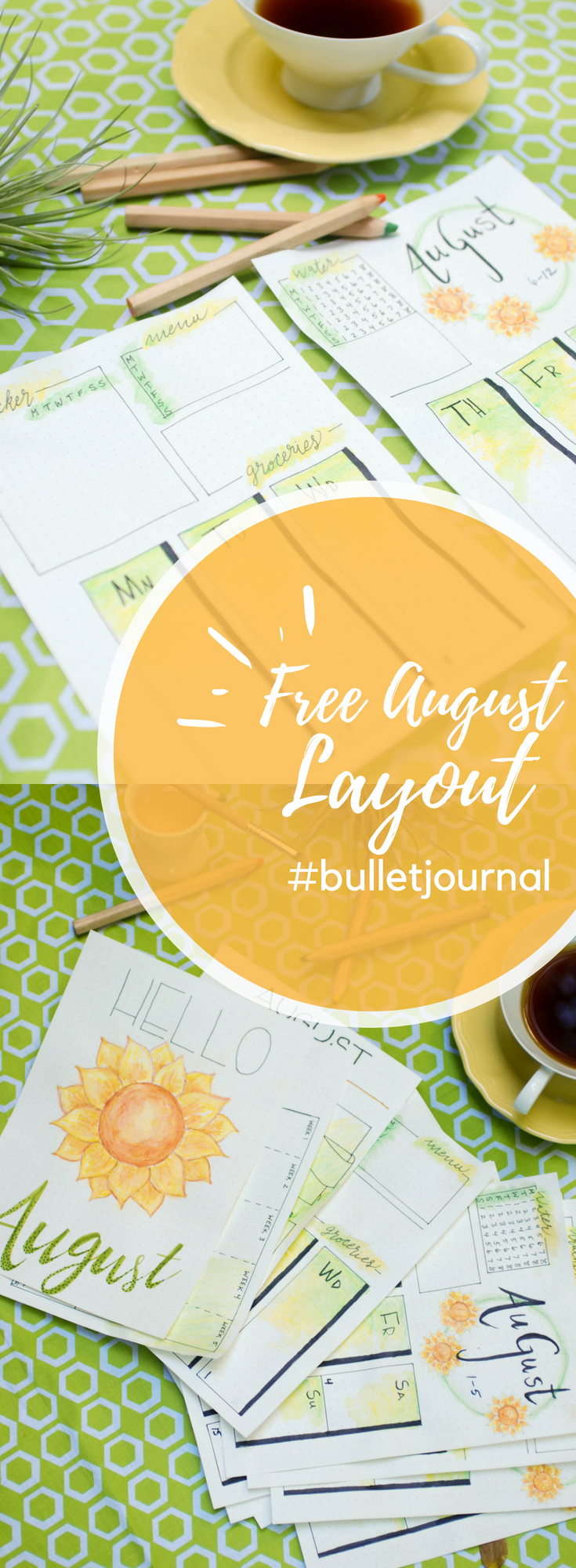 Free August 2018 Bullet Journal Layout #watertrackerbulletjournal