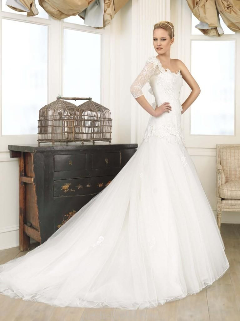 One shoulder long sleeves mermaid Wedding Dress