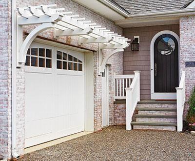 Garage Trellis And Jamestown Railing Walpole Outdoors Garage Trellis Garage Door Trellis Pergola