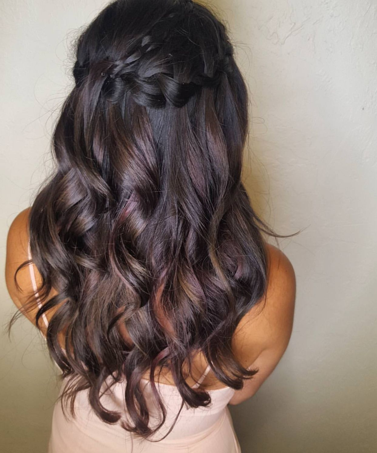 Braided half up half down brunette long hair hair by amanda