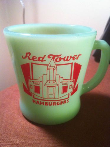 RARE Red Tower Hamburgers Fire King Coffee Mug Jadeite | eBay