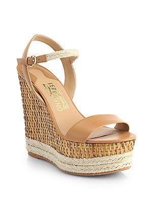 824204dfe17 Salvatore Ferragamo Marlene Wicker Wedge Espadrille Sandals. 5 ...