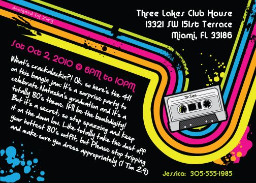 Doc12191500 80s Themed Birthday Party Invitations 80s Theme – 80s Theme Party Invitations