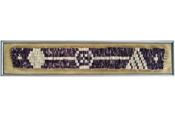 Aquinnah Wampum Belt by Charlie Witham, Kate Taylor and Joan LeLacheure on MV Arts & Ideas —  We lived in a town that was home to people of the Nation of the Wampanoag, and they had just been through a grueling battle for federal recognition, which they won. We wanted to make a belt that would honor our town; the continuity and sustainability of life in it, the ancient aspects of it's geology and it's crown jewel—it's people. — Thus the Aquinnah Belt.
