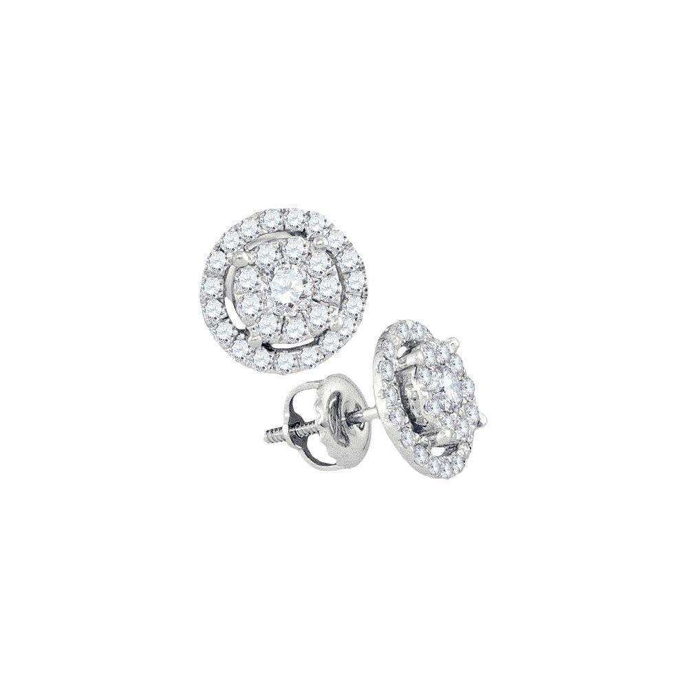 14kt White Gold Diamond Cluster Earrings 0.70ct