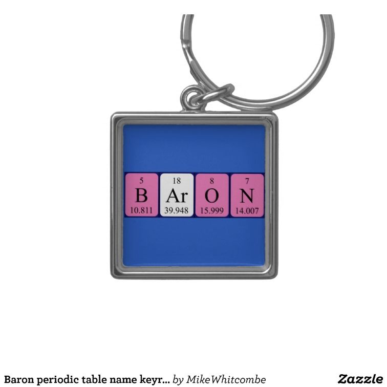Baron periodic table name keyring periodic table baron and silver baron periodic table name keyring silver colored square key ring urtaz Gallery