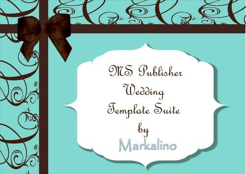 Microsoft Publisher Wedding Template Suite in Tiffany Blue / Robin - publisher wedding invitation templates