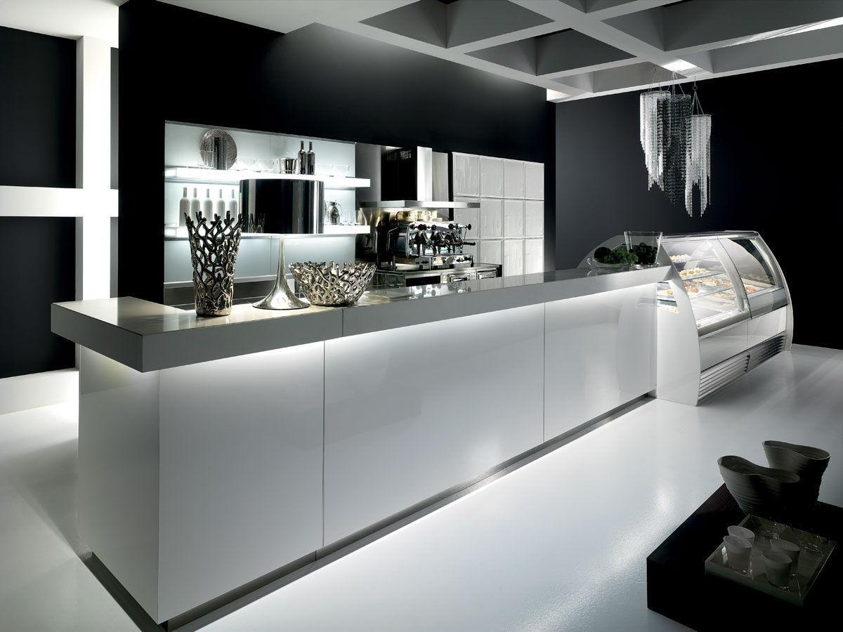 Shop counter top engineered stone mitre joint quartz for Arredamenti per bar moderni