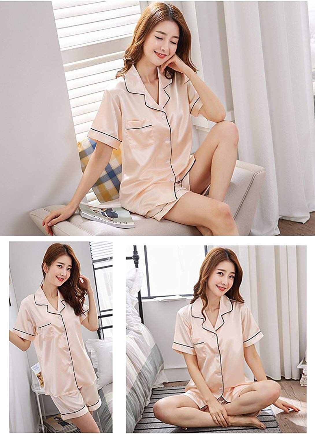 a72eb6d031 NANJUN Women s Satin Pajamas Sleepwear Short Button-Down Pj Set(Black