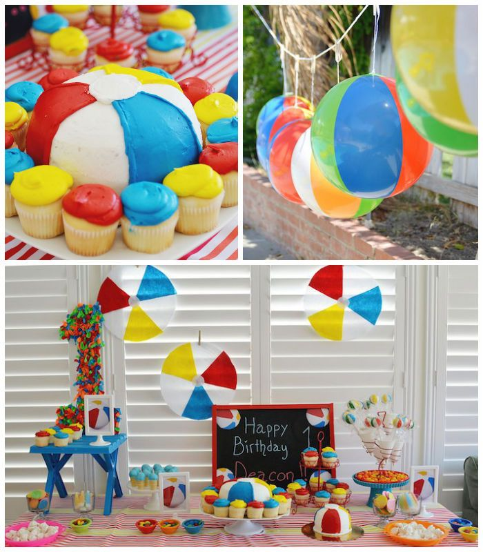 Beach Ball Themed Birthday Party With Images Water Birthday
