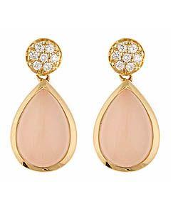 Jenny Perl Rose Quartz Teardrop Earrings