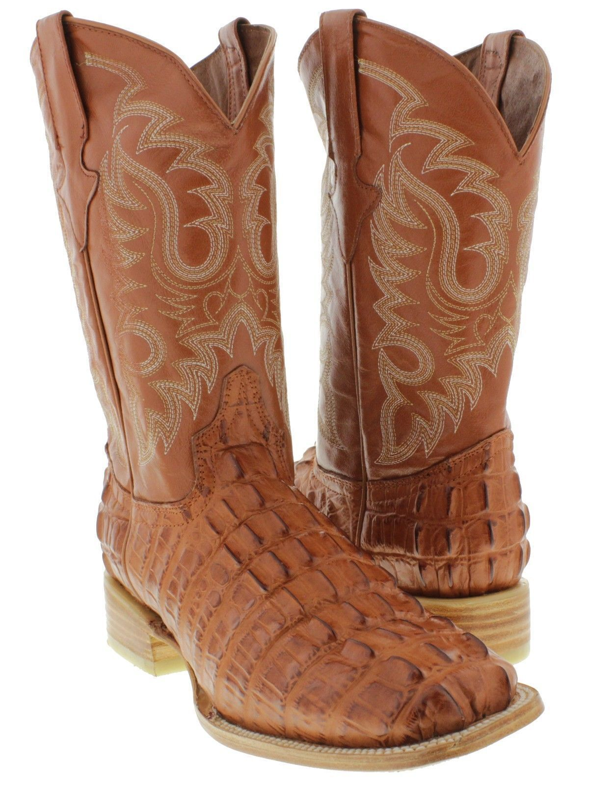 47bfd69523f Mens Cognac Brown Cowboy Boots Crocodile Alligator Leather Tail Cut ...