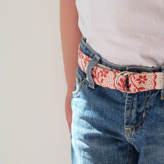 Girl's Belt Red and Cream Handprinted Durable Linen by LilaKids, $24.00