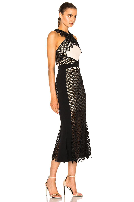 David Koma Zig Zag Macrame Midi Dress in Peach & Black   FWRD