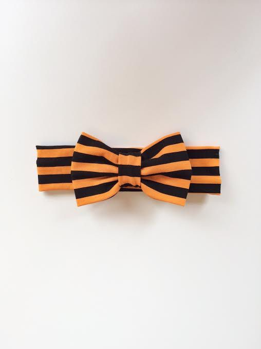 Orange and Black Striped Halloween Bow Turban Headband babies children adult by KennedysCollections on Etsy