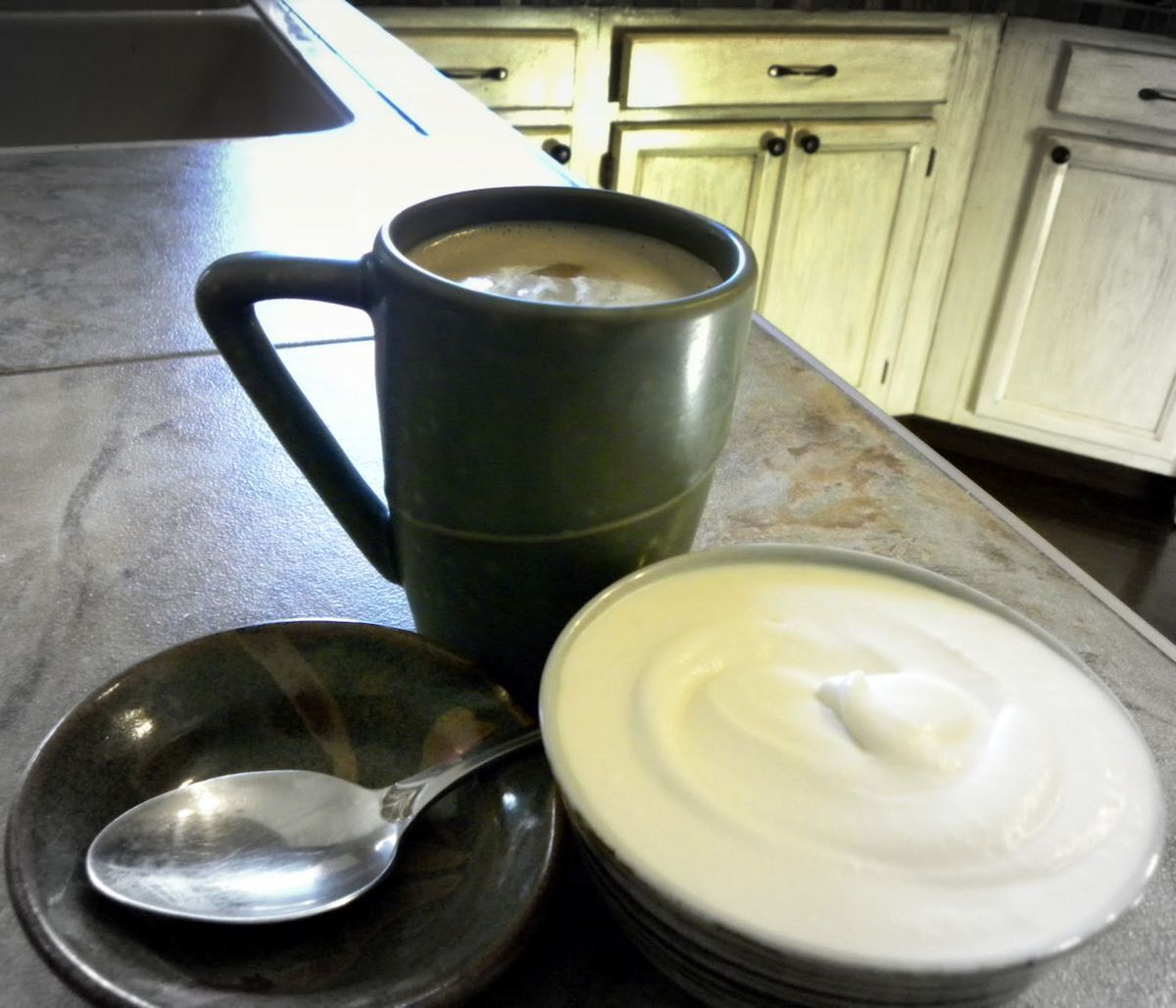 A primal non dairy coffee creamer with coconut oil coconut cream a primal non dairy coffee creamer with coconut oil coconut cream and an egg note try using lecithin granules in place of the egg to try to veganise this malvernweather Choice Image