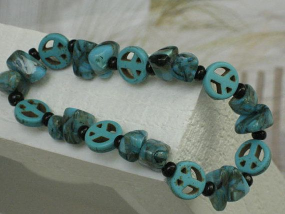 Turquoise Peace Bracelet with Geometric Shell by SeagrassJewelry, $20.00