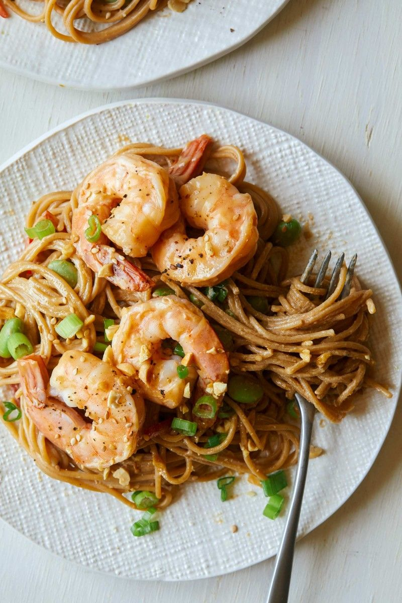 Cold Soba Noodles With Shrimp And Edamame In Creamy Peanut Sauce