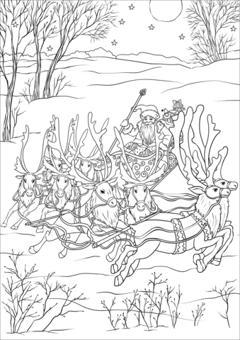 Miniature Sleigh Eight Tiny Reindeer And St Nickolas Coloring Page Christmas Coloring Pages Coloring Pages Cool Coloring Pages