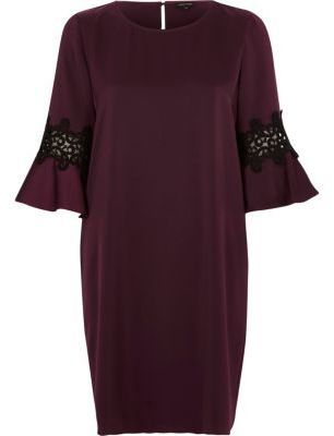 c44e40bffdf5 River Island Womens Dark purple bell sleeve swing dress