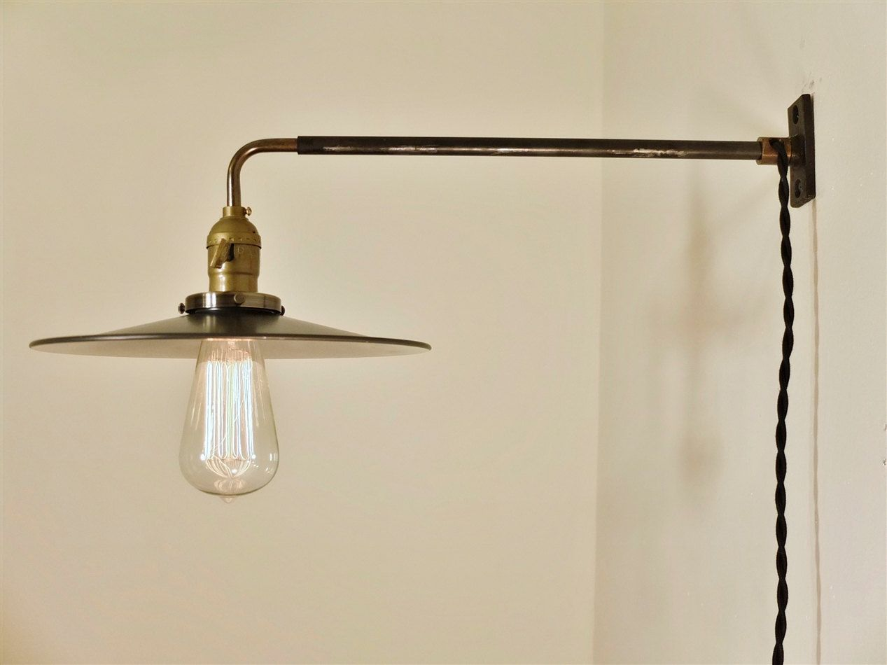Wall Mount Lamp Shades : Vintage Industrial Wall Mount Light - FLAT STEEL SHADE - Machine Age Trouble Lamp Sconce, Milk ...