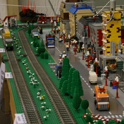 What Can You Find at a Model Railroad Show?: Lego railroad clubs create their railroads and scenery entirely from Lego parts.