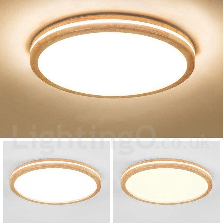 Dimmable Round Wooden Led With Lens Modern Contemporary Nordic