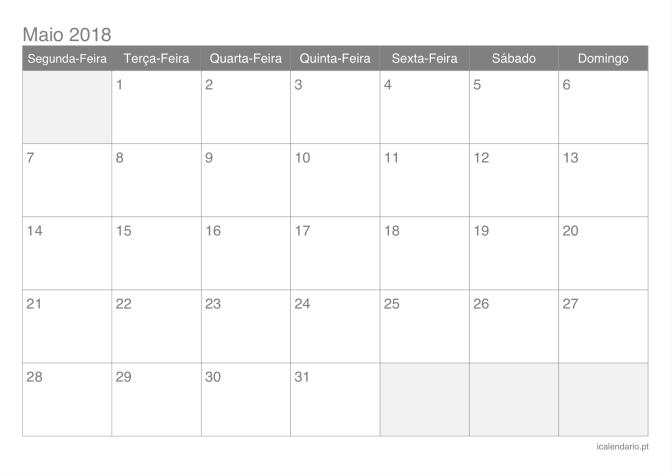 Calendario Maio 2018 Para Imprimir Calendario Julho Calendario