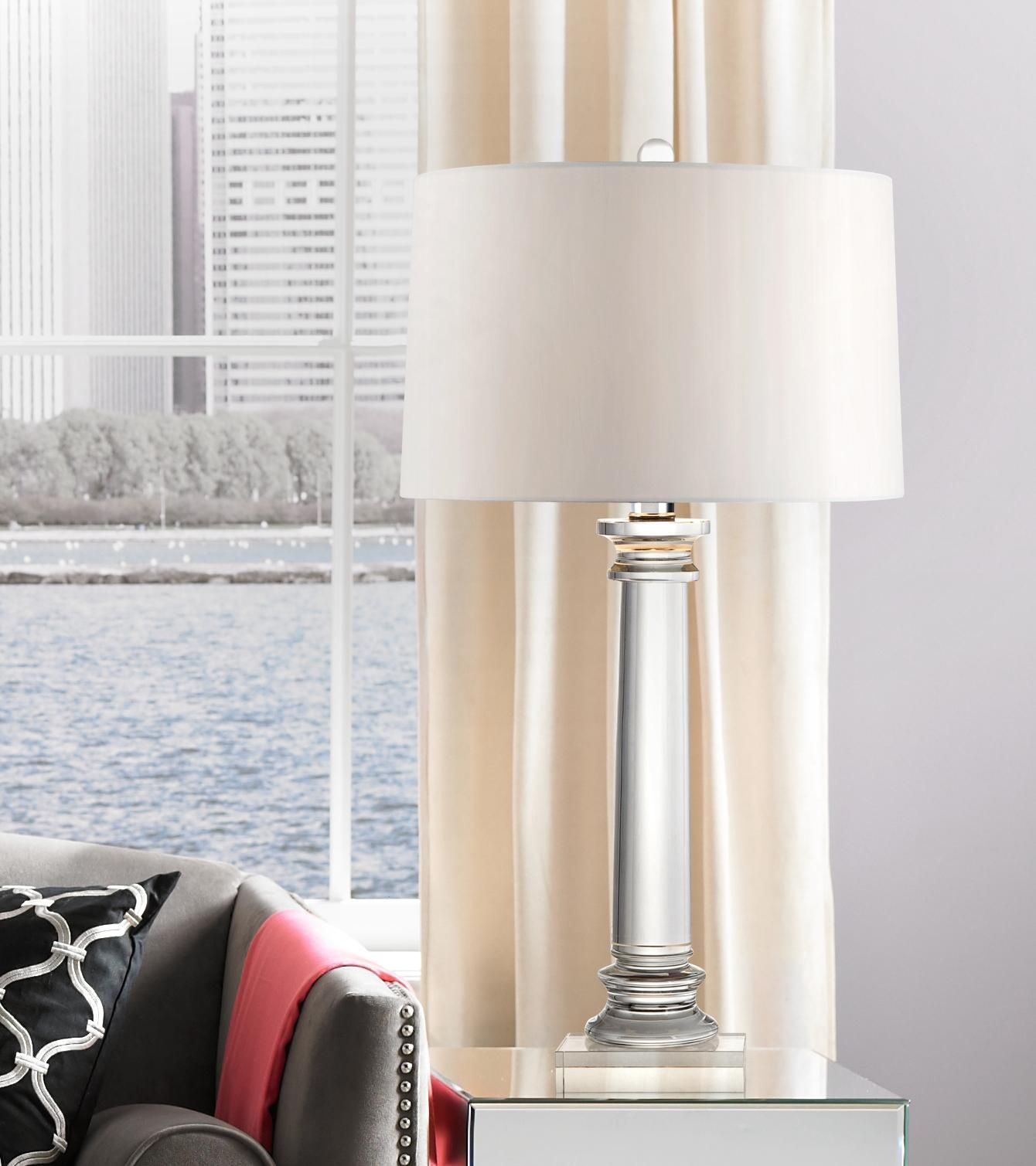 Two Of These Vienna Full Spectrum Modern Crystal Column Table Lamp Will Go In Our Master Bedroom One On Each Nightstand