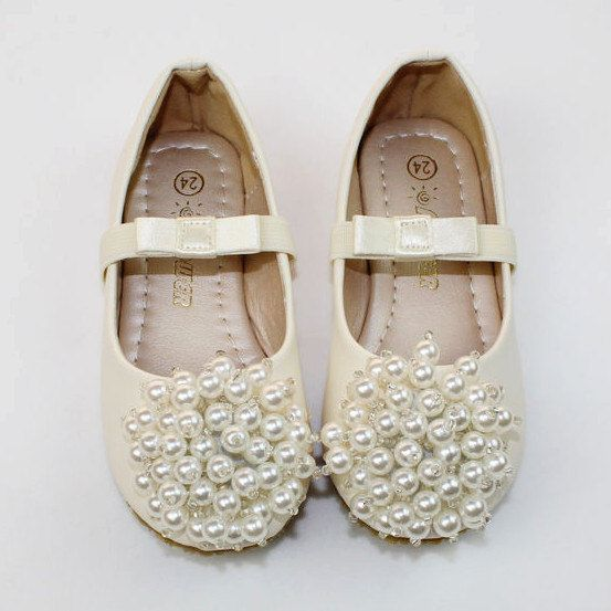 09a4f65058 Ivory Flower Girl Shoes/ ivory pearl Toddler Girl Shoes/Pearl satin ...